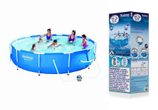 12FT New Metal Frame Portable Swimming Pool Above Ground Backyard  + Filter Pump