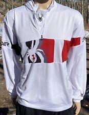 Men's Spyder LS Pullover 1/4 Zip Base Layer Shirt Medium White, Red, Black