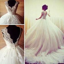White/lvory Wedding Dresses Beaded Bridal Ball Gowns Long Train Custom size 4-24