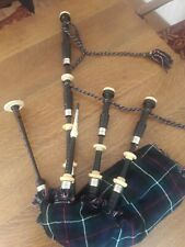 More details for robertsons antique highland bagpipes with nickel silver & ivory mounts