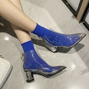 Womens Ankle Boots Rhinestone Transparent Pointed Toe Fashion Block Heels Shoes