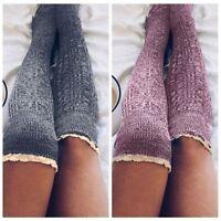 Winter Warm Knit Leggings Stocking Leg Warmers Long Boot Socks Thigh-High