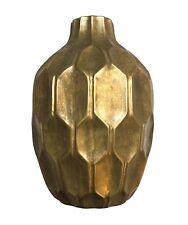 Gorgeous Anthropologie Home Honeycomb Pattern Gold/Brass Ceramic Flower Vase