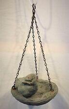 "Hand Cast Artisan Hanging Bird Feeder 1992 6"" diameter metal chain cement resin"