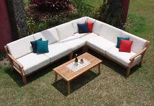 Giva Grade-A Teak Wood 5 pc Outdoor Garden Patio Sectional Sofa Lounge Set