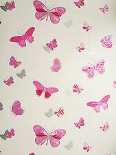 Butterfly Pink Cream Silver Butterflies Girls Kids Feature Wallpaper x
