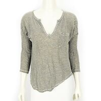 Madewell Green White Striped 3/4 Sleeve V-Neck Linen Shirt Blouse Top Small