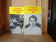 Lot 2 livres L'ANNÉE BALZACIENNE 1968 & 1970 Éditions Garnier