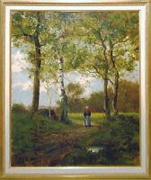 Gustave Albert Catoire 1845-1880: Corot-Umkreis Bäuerin Birken Ölgemälde 19. Jh.