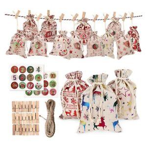 24Pcs Christmas Gift Bags Calendar Countdown Jute Bag Candy Storage Pouch D U6H2