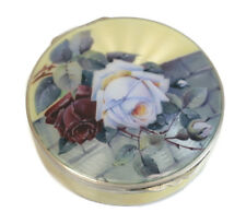Charming German Sterling Silver & Guilloche Enamel Mirror Compact Case