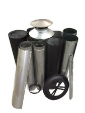 "Wood Fire Flue Kit Decorative Club & Round 150 (6"") Painted Satin Black"