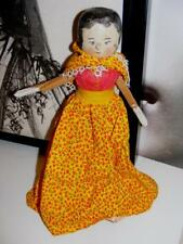 "PENNY Grodnertal Peg Wooden Antique DOLL 11"" Articulated jointed IN DRESS WOOD"