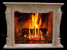 Majestic French Style Hand Carved Marble Fireplace Mantel, Egypt Beige #459