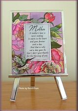 MOTHER SENTIMENT PLAQUE ON METAL EASEL HAND PAINTED GLASS BY AMIA FREE U.S. SHIP