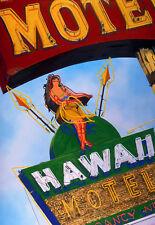 Hawaii Motel Hula Tiki Neon Sign Hand Colored Photo Bar Lounge Art Decor Retro