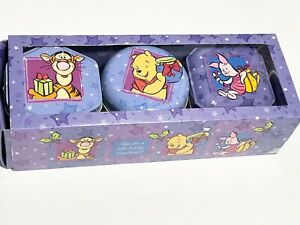 DISNEY WINNIE THE POOH Set of 3 Scented Candles Decorative Tins RARE