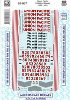 """HO Scale Microscale 87-997 Union Pacific UP SD90mac """"We Will Deliver""""  Decal Set"""