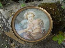 """Ancienne miniature aquarelle """" le baiser doux"""" sur parchemin , érotique"""