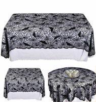 Black Spider web Lace Cobweb Halloween Table Cloth Home Cover Halloween Decor