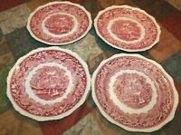 """Lot of 4 Mason's Ironstone VISTA RED 10-3/4"""" DINNER PLATES Made in England"""
