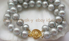 New 2 Strands  9-10mm gray round freshwater pearl bracelet AAA 8""