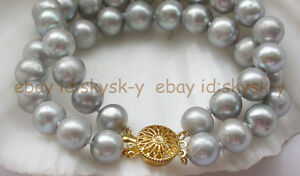 """New 2 Strands  9-10mm gray round freshwater pearl bracelet AAA 8"""""""