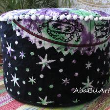 """22"""" Zodiac Ottoman Pouf Cover Tie Dye Cotton Mandala Foot Stool Pouf Cover Throw"""