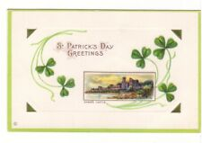 St Patrick's Day Greeting, Shane's Castle, Clover, Antique Embossed Postcard