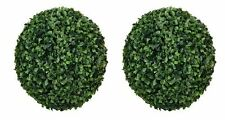 """TWO 13.5"""" ARTIFICIAL BOXWOOD BALL INDOOR OUTDOOR TOPIARY PLANT"""