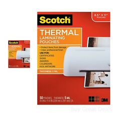 Scotch Laminating Supplies Thermal Pouches 9x12 Inches 50 Pack Protect Items