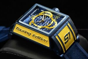 Invicta 44mm S1 Rally Tonneau Chronograph BLUE LABEL Silicone Strap Swiss Watch