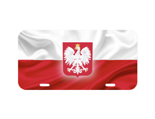 Poland Polska Polish Flag Metal Black Aluminium Car License Plate Frame Holder Car Chrome Decals
