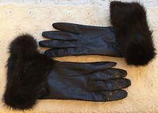 Hermes Paris Ladies Leather & Fur Gloves / Woman's Size 7 1/2