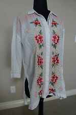 NEW Johnny Was 3J Embroidered Sophia High Slit Button Down Shirt Blouse Top S