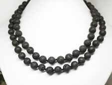 "Beads Stone Handmade Strand Necklace 10mm 35"" Long Beauty Black Lava Round"