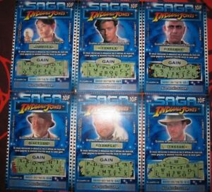 SAGA INDIANA JONES FRENCH LOTTERY TICKETS COMPLETE SET FRANCAISE DES JEUX RARE