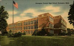 Central High School Dowagiac Michigan flag ~ 1940s linen postcard