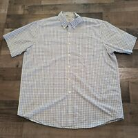 LL Bean Mens Button Up Short Sleeve Shirt Extra Large Vintage Blue Check Casual