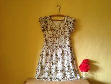 Size 10 12 vintage 50's boho floral cream blue sheer short sun dress long top