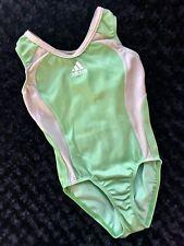 Adidas GK ELITE Gymnastics LEOTARD Light Green SILVERY WHITE Tank SPORTY Leo  CM