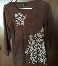 Tryst by Mathew Sz S Brown Floral Knit Top  3/4 Sleeve 100% Cotton  VGC USA