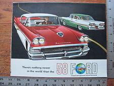 Original 1958 58 Ford Fairlane 500 Skyliner Sunliner Dealer Sale Brochure Poster