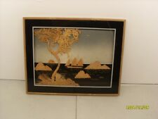 Framed Cork Oriental Seascape picture of Sunset and ship used item No Compression