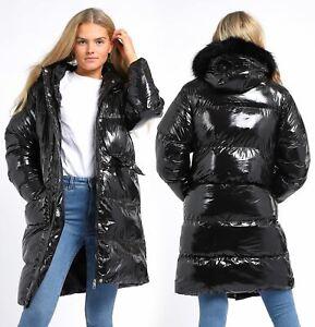 Womens High shine Wet Look Bubble Faux Fur Parka Coat Size 10 8 12 14 16 Black