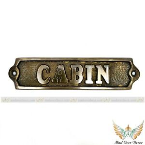 ANTIQUE FINISH BRASS ENGRAVED CABIN TAG DOOR SIGN DECOR ITEM WALL PLAQUE