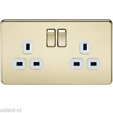 1x SF9000PBW - Knightsbridge 13A 2G DP Screwless Switched Socket -Polished Brass