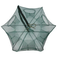 6 Holes Automatic Fishing Net Shrimp Cage Nylon Foldable Crab Fish Trap Crawfish