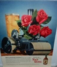 1952 AD~FOUR ROSES WHISKEY FEATURES 4 ROSES IN A MAKE-SHIFT STEAM ROLLER