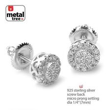Screw Back Stud Men's Earrings 460 S Hip Hop 925 Silver Micro Pave Double Round